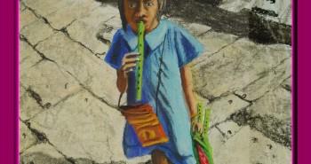 Painting Number 1 – מוכרת החלילים הקטנה, מקדש באנגקור ואט, קמבודיה. – Little Flutes seller girl, Angkor Wat Temple, Cambodia.