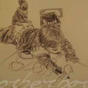 Painting Number 4 – בועז מצייר על הרצפה. ישראל. – Boy (Boaz) draws on floor, Israel.
