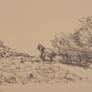 Painting Number 1 – עגלה עם סוסה, ליטוגרפיה. – Horse pulling wagon, Lithography.