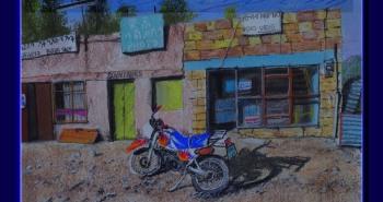 Painting Number 1 – סצנת רחוב ואופנוע בבהר דר, אתיופיה. – Motorbike, Bahar Dar, Etiopia