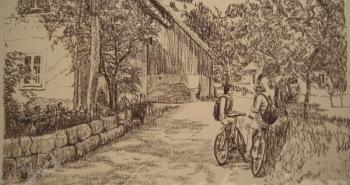 Painting Number 4 – שני נערות בהפסקת רכיבת אופניים, סלובניה. – Two girls on bicycles break, Slovenia.