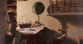 Painting Number 1 – פנים, עם אניית מפרש גלובוס המטיל צילו על מפת ירושלים. – Interior, with sailing tall ship and globe casting shadow on Yerushalaym map.