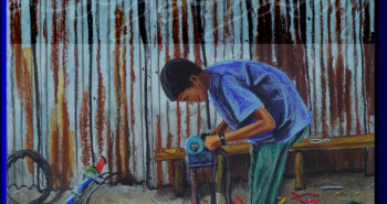 Painting Number 1 – מתקן אופניים, אקסום, אתיופיה. – Pavement  bicycles repair shop Axum, Etiopia.