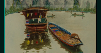 Painting Number 1 – סירות על נהר לי, יאנגשואו, סין. – Boats on Li River, Yangshou, China.