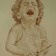 Painting Number 2 – הדס מבכה את הקרחון שנפל, חוף כינרת, ישראל. – Little girl (Hadas) cry over her fallen popsicle, Kineret Lake, Israel.