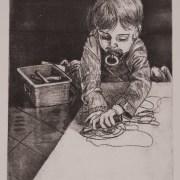 Painting Number 2 – בועז מצייר על הרצפה. ירושלים,  ישראל. תחריט. – Boy (Boaz) draws on floor, Israel. Engraving.