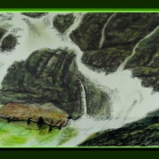 Painting Number 2 – שפך נחל ומפל לנהר לי, יאנגשואו, סין. – Spring and water fall to Li River, Yangshou, China.