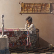 Painting Number 2 – פנים, שולה קוראת בספר, על רקע מפת ירושלים. – Interior with figure. Shula reads a book with Yerushalaym map.