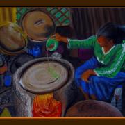 Painting Number 2 – מטגנת האינג'רה, לליבלה, אתיופיה – The Ingera Fryer, Lalibella, Ethiopia.
