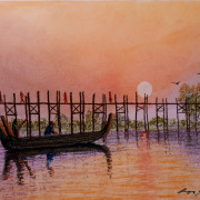 Painting Number 2 – גשר עץ התיק העתיק, על נהר איירוואדי, מנדאליי, מיאנמאר. – Ancient Amarapura Ubein Teak wood bridge on Ayarawady River, Mandaley, Mianmar