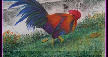 Painting Number 2 – תרנגול באיוטאיה, תאילנד. – Cock in Ayothaya, Thailand