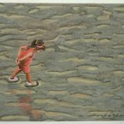 Painting Number 3 – ילדה מותירה חותמה בבוץ על גדת נהר בצנגדו, סין. – Little girl makes her marks on sandy river bank, Chengdu, China.