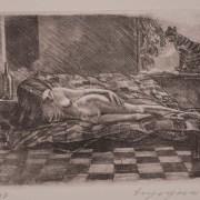 Painting Number 3 – עירום עם אלכס. ירושלים,  ישראל. תחריט. – Nude with Alex. Jerusalem, Israel.  Engraving.