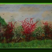 Painting Number 3 – עצי פרי בפריחה, נהר לי, יאנגשואו, סין. – Cherry blossom, Yangshou, China.