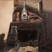Painting Number 3 – פנים, חדר עם עששית, שטיח ומפת ישראל עתיקה. – Interior room with oil lamp, carpet and ancient Israel map.