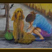 Painting Number 3 – נערה מספרת את כלבה על המדרכה, צנגדו, סין. – Girl hairdressing dog on pavement, Chengdu, China