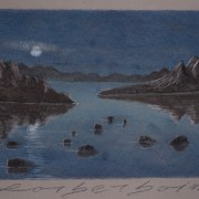 Painting Number 2 – ירח על מפרץ מסולע. – Moon shines on Rocky Bay