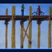 Painting Number 4 – פוסעים על גשר עץ התיק העתיק מעל נהר איירוואדי, מנדאליי, מיאנמאר. – People on ancient Amarapura Ubein Teak wood bridge on Ayarawady River, Mandaley, Mianmar