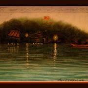 Painting Number 4 – ערב רד על המקדש והאגם, מאה הונג סון, תאילנד. – Evening on Lake, Wat on hill, Mea Hong Son, Thailand.