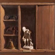 Painting Number 4 – טרומפ לאויל, דיוגנס בחיפוש אחר האמת, עם פעמון, פיל ומשקפת.   – Trompe L'Oeil. Diogenes in search of truth, with Bell, Elephant and binoculars.