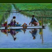 Painting Number 4 – כובסות על גשרון בתעלה, אינלה לייק, מיאנמאר. – Girs laundering on wooden pass way on spring, Inle Lake, Myanmar.
