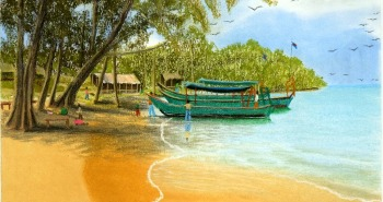 Painting Number 4 – סירות על חוף אי, פוקט, תאילנד. – Boats on Island Beach, Phuket, Thailand.