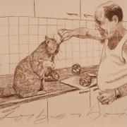 Painting Number 4 אלכס, עוזר הטבח המסור, ירושלים, ישראל. – Alex is helping me with cooking,  Jerusalem, Israel.