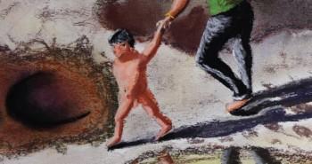Eager kid drags dad, Sam Pan Bok, Thailand. 26, May 2017 . ילדון נלהב גורר אביו, סאם פאן בוק, תאילנד
