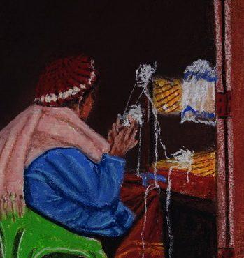 Embroidery lace woman, Chiang Kam, Thailand. 20 Sep 2017 .רוקמת התחרה, ציאנג קאם, תאילנד