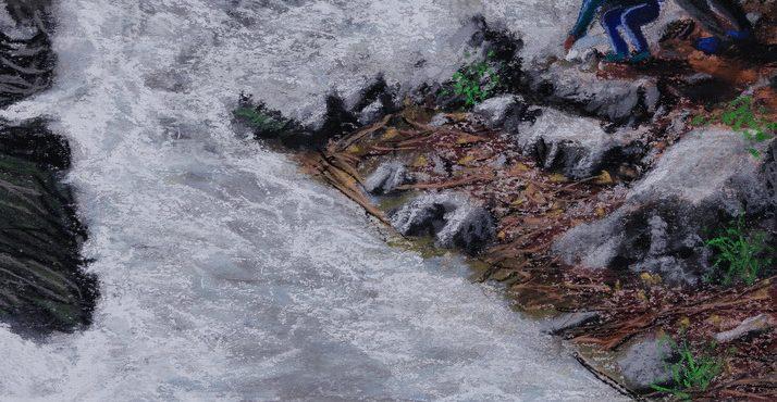 Todler cast stones into mountain spring, Kekopatrie,, Trodos Mountain, Cyprus. 24 Nov 2017 .זאטוט משליך אבנים לנחל הררי, קיקופטריה, הרי טרודוס, קפריסין