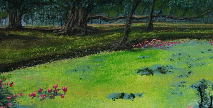 Green pond, Water lily and reflection, Sukothai, Thailand.  13 July 2018 מואט עם מחול צבעי ירוקת, השתקפויות, ופרחי לוטוס, סוקותאי, תאילנד