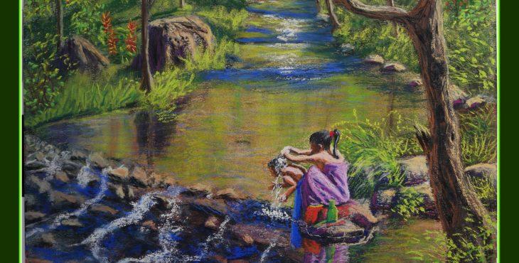 Girl shampooing her little sister hair in spring, Luang Namta, Laos.  28 Dec 2018 .ילדה חופפת שיער אחותה הקטנה בנחל, לואנג נמטה, לאוס