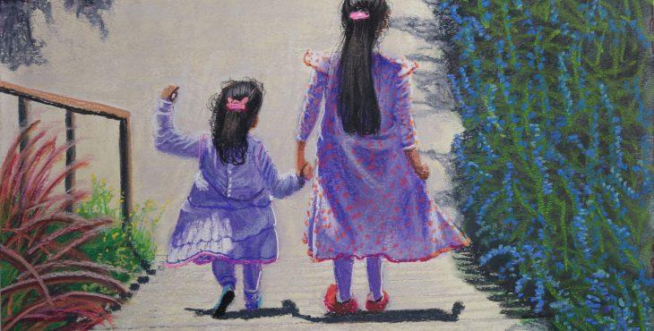 Two sisters at Shabat morning walk, Jerusalem, Israel. 11 Jan 2019  שתי אחיות בטיול שבת בבוקר, ירושלים, ישראל.