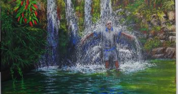 Figure showers under water fall at Nahal David Lorberboim Soft Pastel Painting. דמות אפופה במפל בנחל דוד