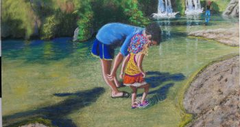 Lorberboim Soft Pastel Painting. Eyal and Lilya at double water fall at Nahal David