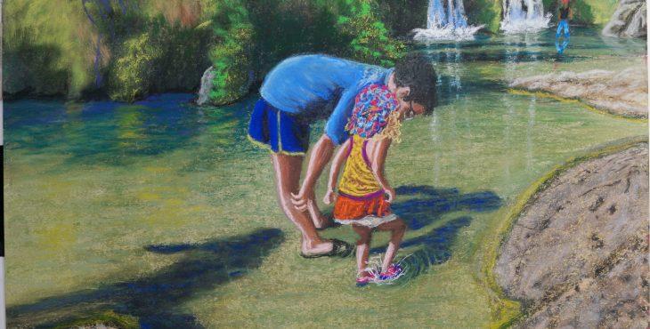 Lorberboim Soft Pastel Painting. Eyal and Lilya at double water fall at Nahal David
