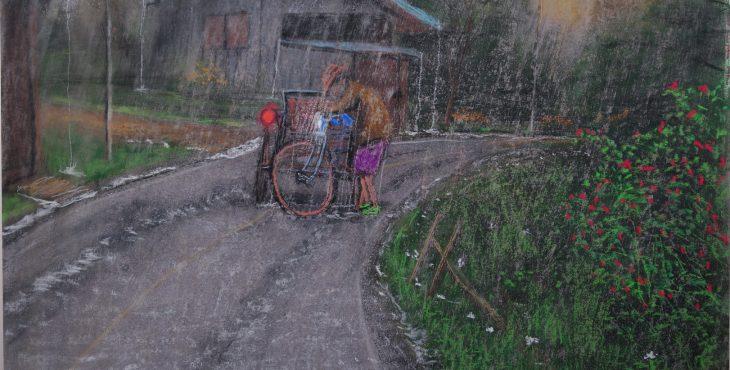 Tricyclo driver stuck in rain, Chiang Mai, Thailand.  5 Apr 2019 .נהג טריסיקלו תקוע בגשם, ציאנג מאי, תאילנד