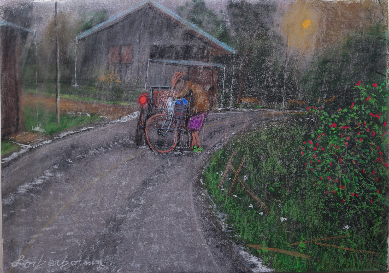 Tricyclo driver stuck in rain, Chiang Mai, Thailand. Lorberboim Soft Pastel Painting.