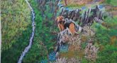 Dog on the rocks view on vally. Lorberboim Soft Pastel Painting.