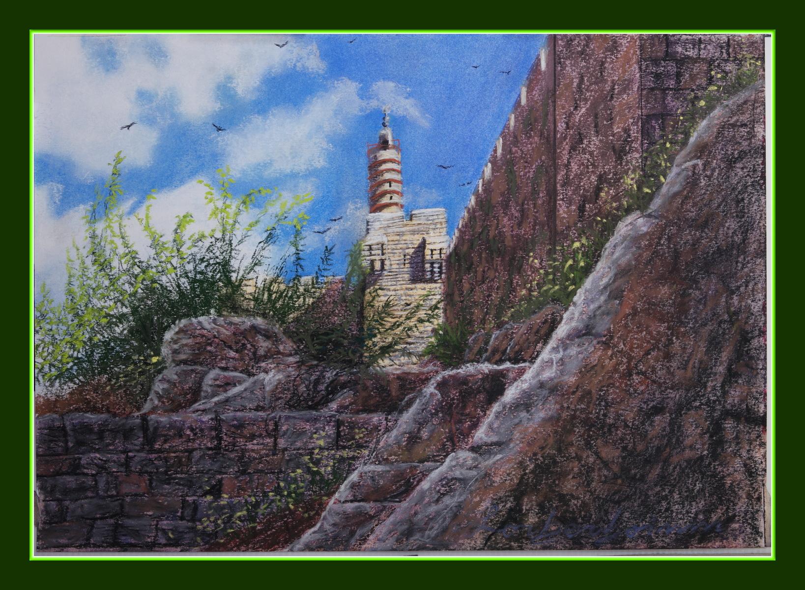 Tower of David, Jerusalem. Lorberboim Soft Pastel Painting. New View Exhibitiom. Tlmuseum.com.