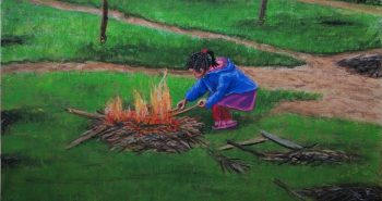 Little girl playing fire, Soft pastel, Koh Lanta, Laos. Lorberboim Soft Pastel Painting.