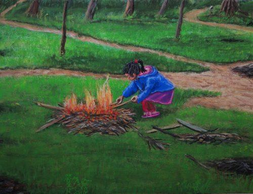 Little girl playing with fire, Soft pastel, Louang Namta, Laos. 10 May 2019  .זאטוטה מדליקה מדורה, לואנג נמטה, לאוס