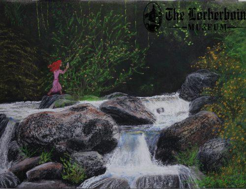 Selfisting on rock in river. 16 Aug .סלפיסטית על סלע בלב המפל